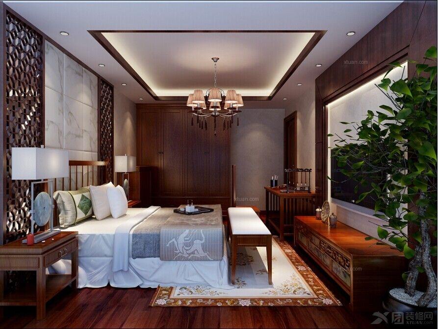 两居室中式风格卧室_实创装饰蓝天嘉园90平米中式风格书香气息图片