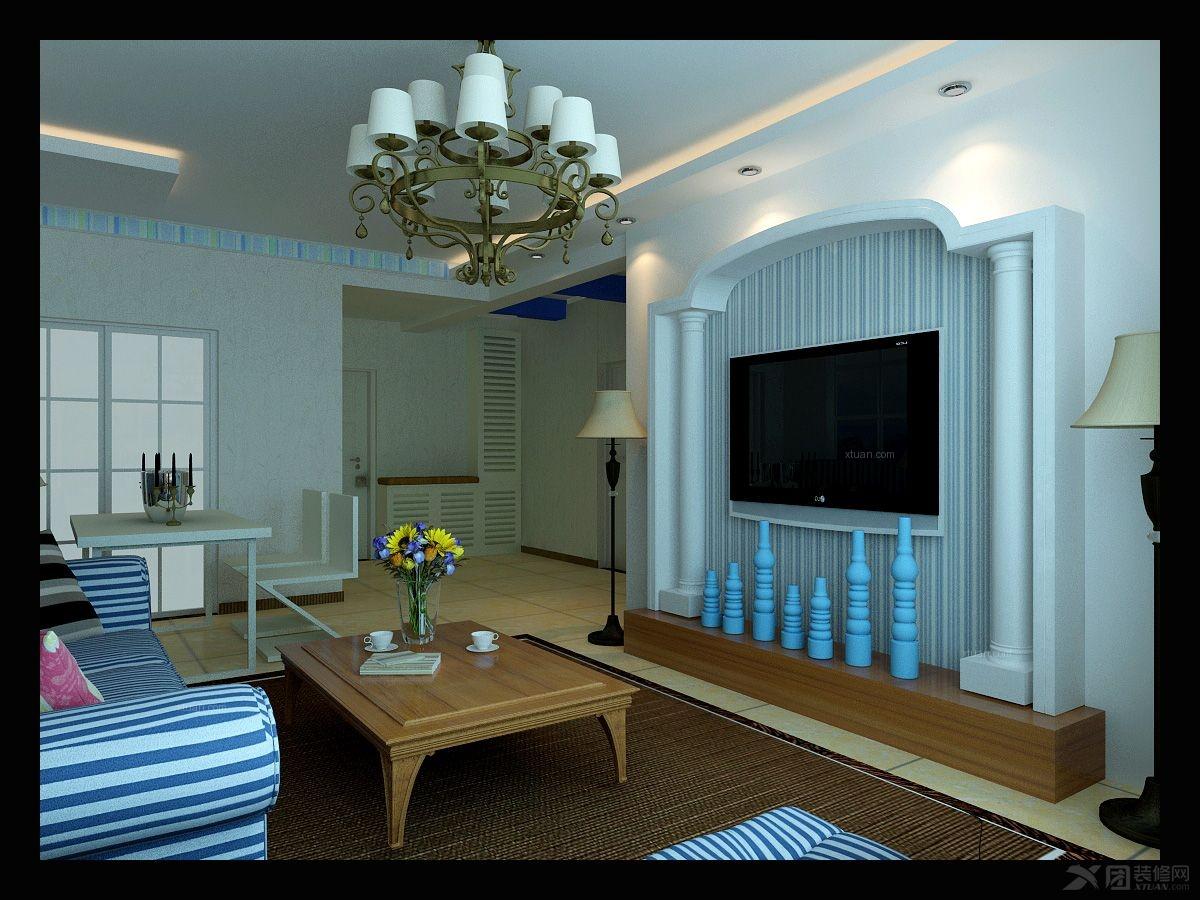 两室两厅地中海风格客厅电视背景墙_奥体花城