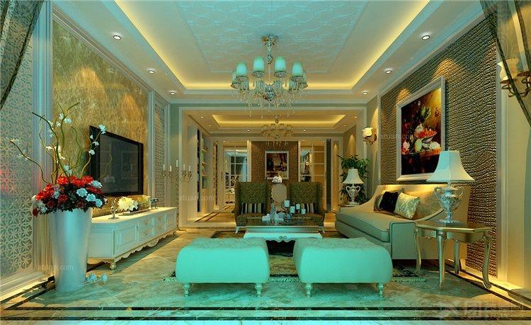 欧式风装修效果图 左右城四居室简欧风格精装装修