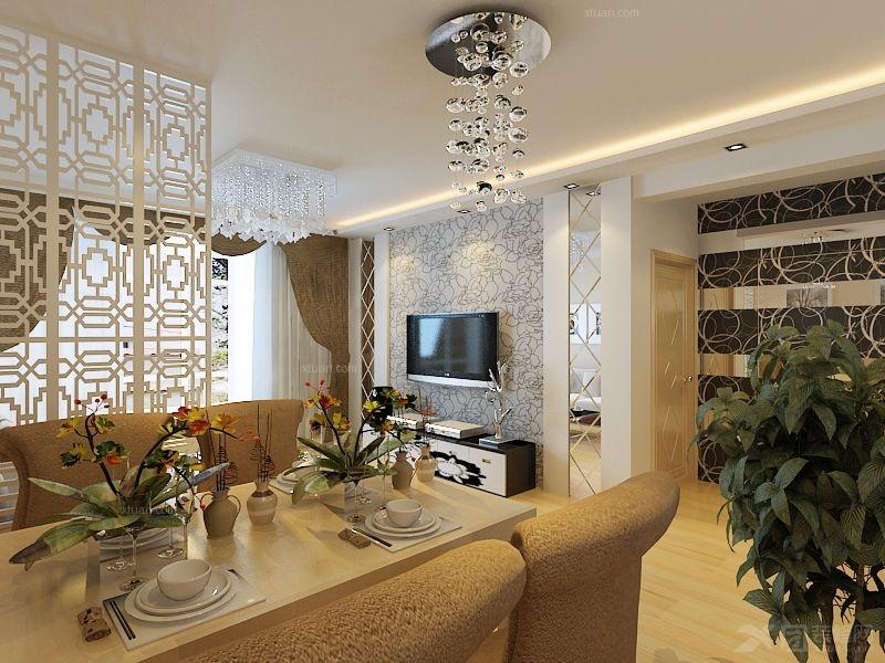 三创国际装饰 两室一厅装修效果图  户型:两室一厅 装修类型:家装