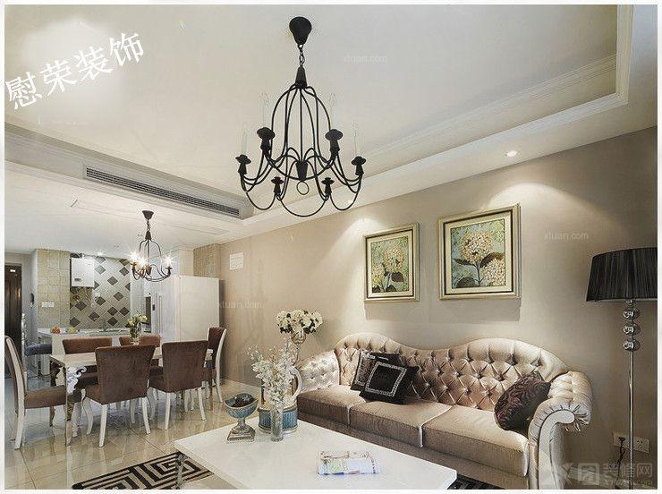 三创国际装饰 三室一厅装修效果图 花果园三室一厅案例装修效果图