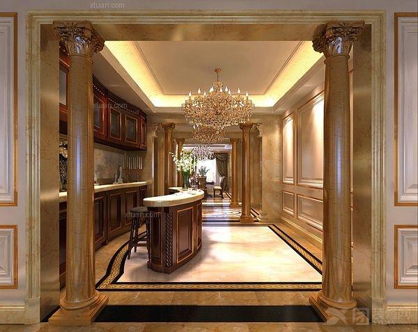欧式古典装修设计风格,它的最大特点是室内墙面的半圆柱或半方柱上改