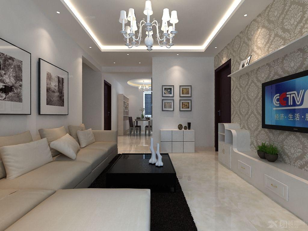 户型:两居室 房间:客厅 风格:现代简约 装修类型:家装 装修方式:全包