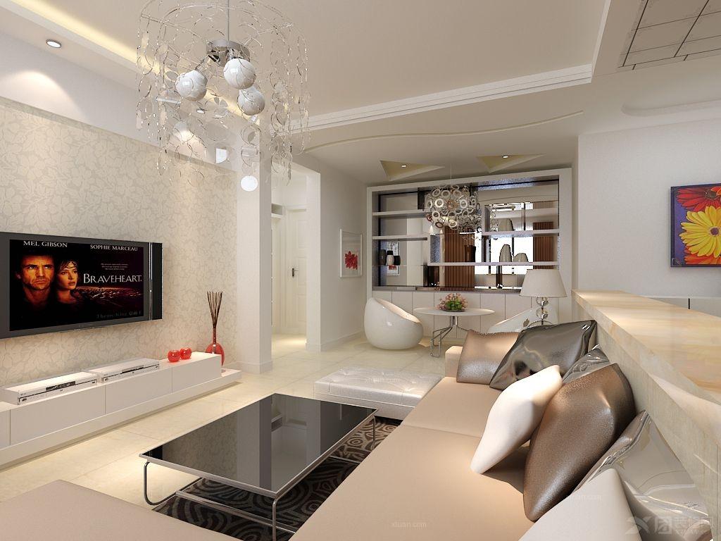 非常现代的敞开式厨房,电视背景墙用简单的石膏板做的电视背景墙上面
