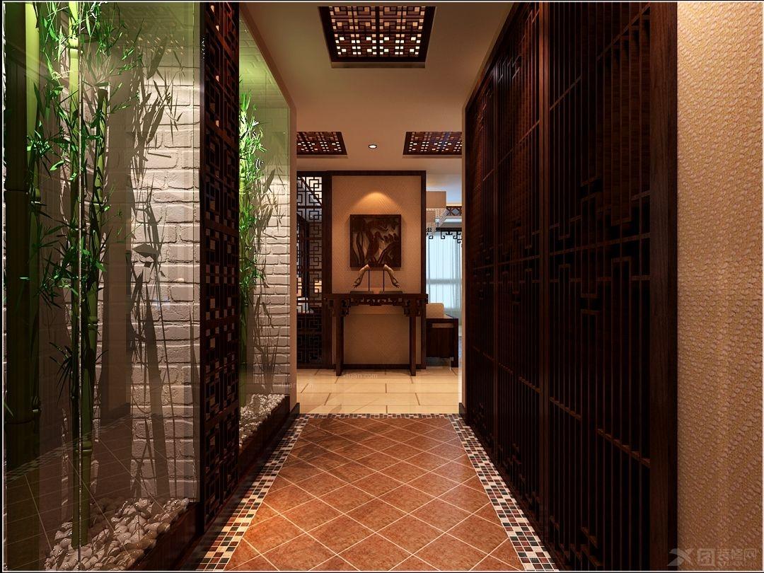 主要装饰材料为木质花格及线条,地砖及木地板结合,壁纸,烤漆玻璃等.