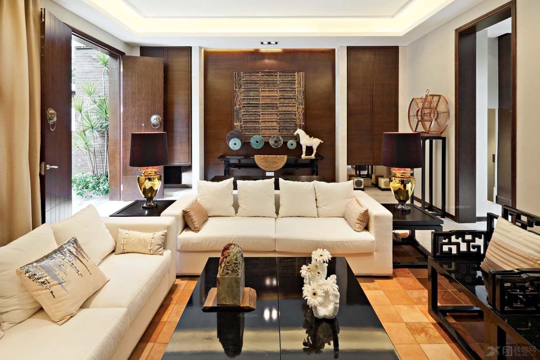 独栋别墅中式风格客厅沙发背景墙图片