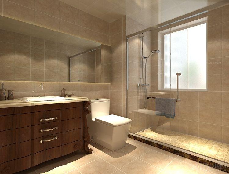 双面盆洗手间装修效果图  户型:三室两厅 房间:洗手间 风格:简欧风格图片