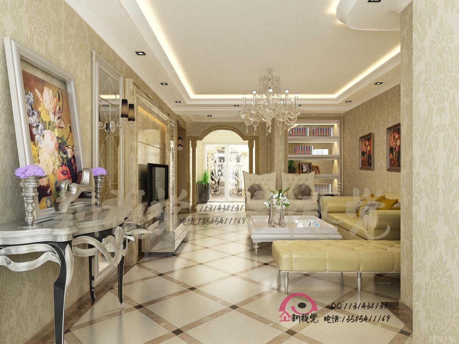 三居室简欧风格客厅电视背景墙_名仕家园图片