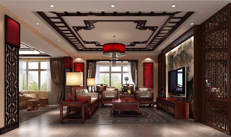 三室两厅中式风格客厅_金色漫香苑-5口人装修效果图-x图片