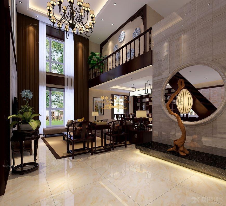 复式楼中式风格客厅沙发背景墙_【西安城市人家】望庭图片