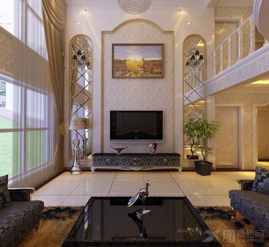 复式楼简欧风格客厅电视背景墙_警韵之家图片