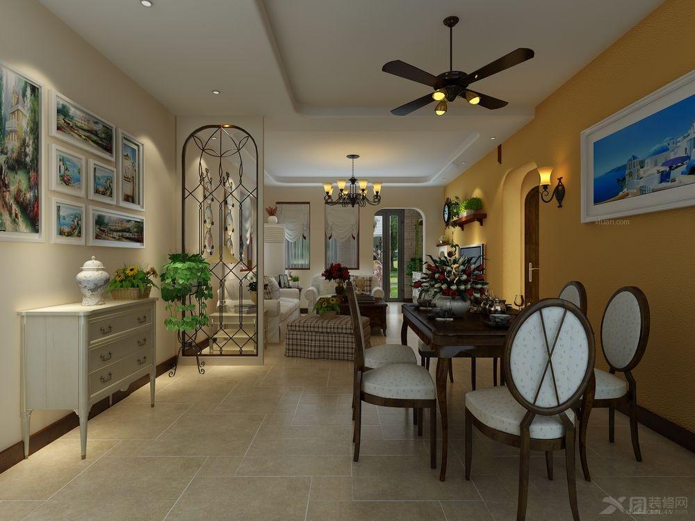 三室两厅地中海风格餐厅电视背景墙_思念果岭