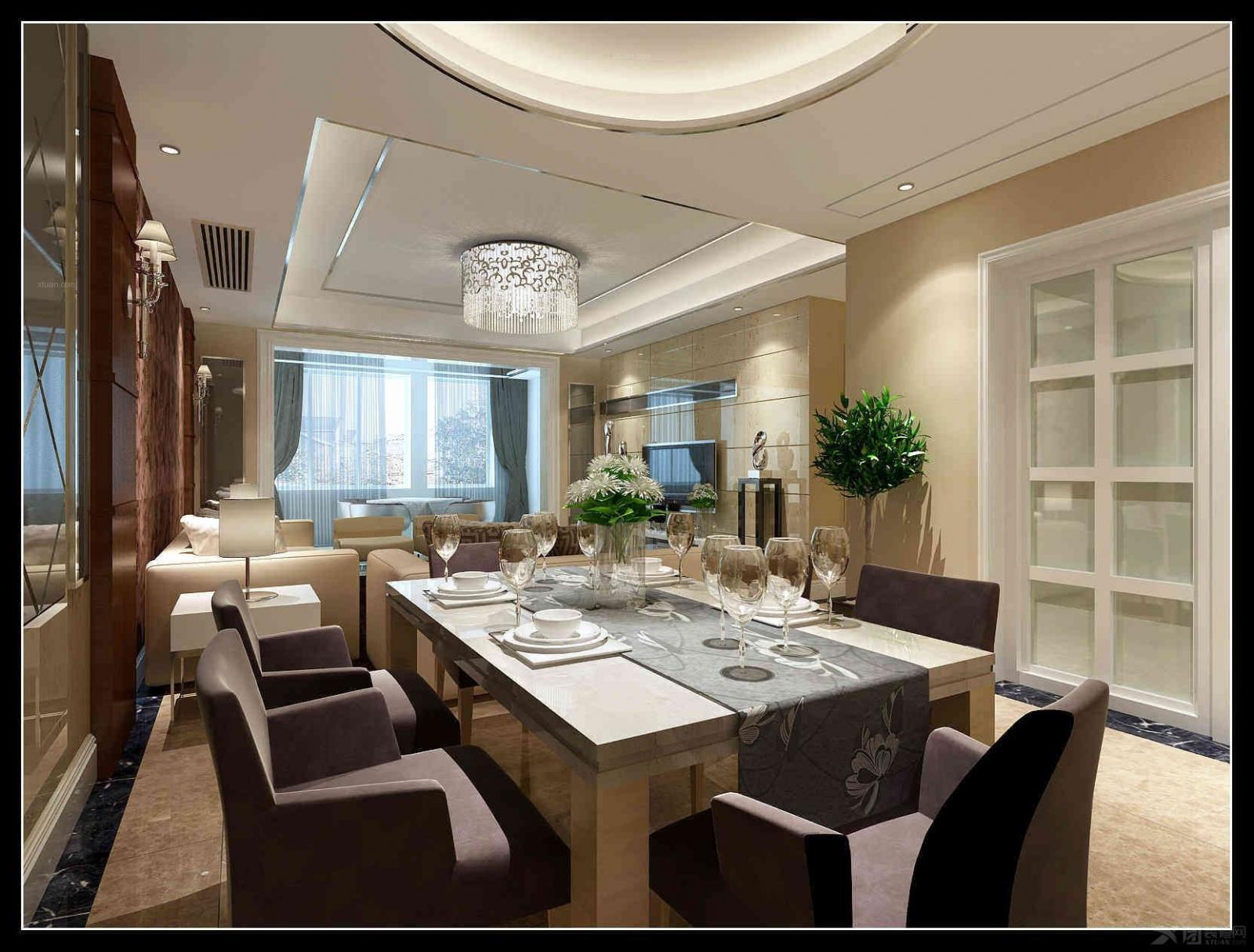 大户型简欧风格餐厅_华润中央公园n3装修效果图-x团图片