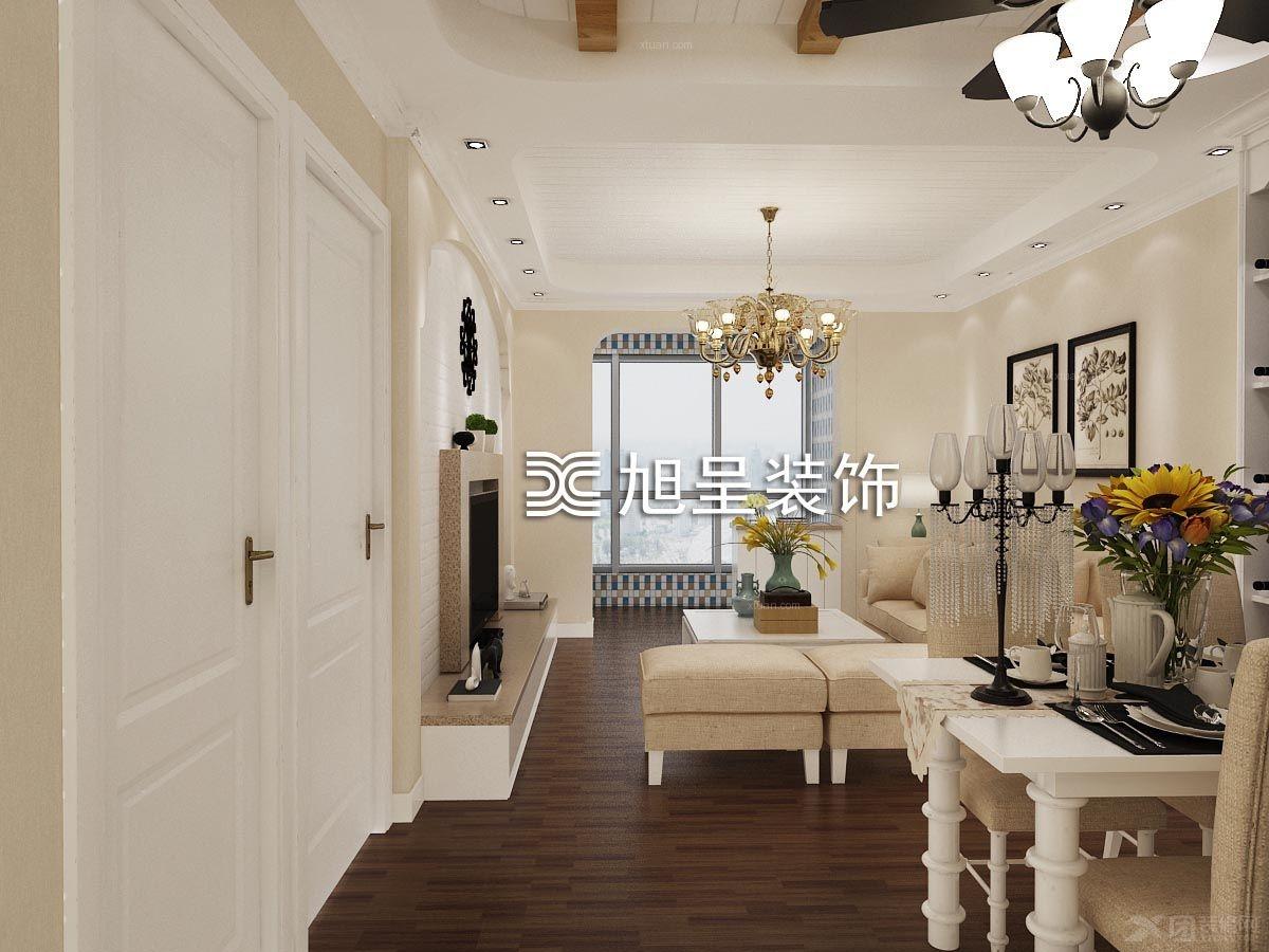 两室两厅美式风格客厅_中央公园 美式简约装修效果图