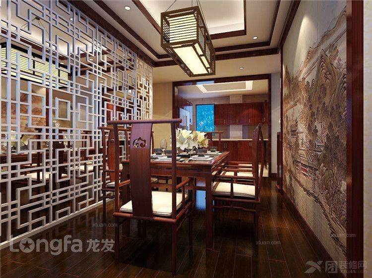 复式楼中式风格餐厅影视墙图片