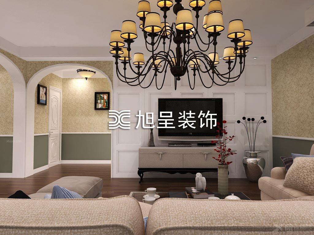 客厅装修效果图  户型:三室两厅 房间:客厅 风格:美式风格 装修类型图片