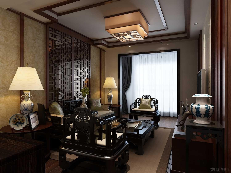 两室一厅中式风格卧室沙发背景墙_湾流海77.07㎡图片