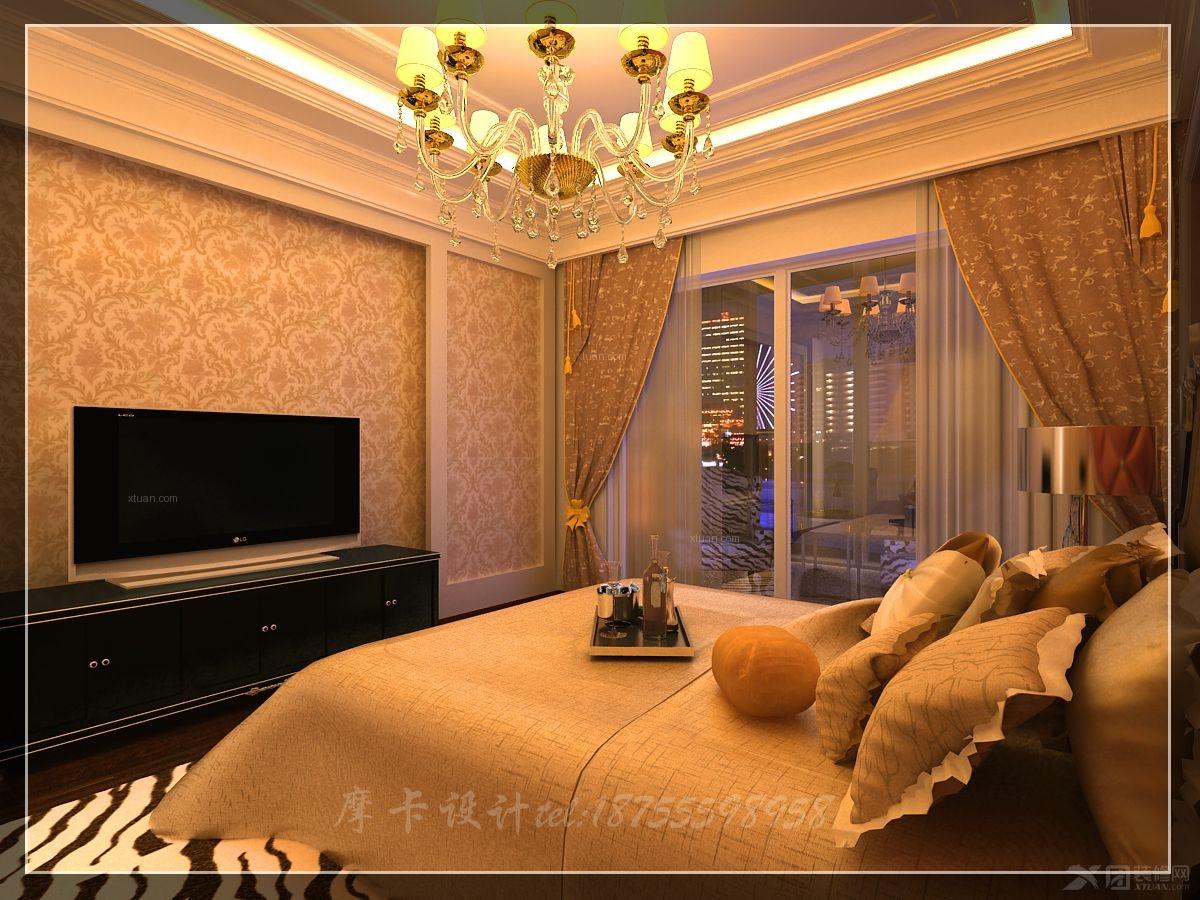 三居室欧式风格主卧室电视背景墙_香樟公寓图片