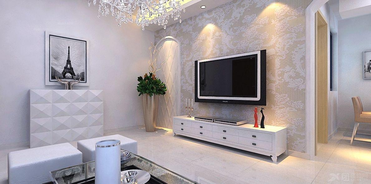 两居室新古典客厅电视背景墙_百大拓基装修效果图-x团