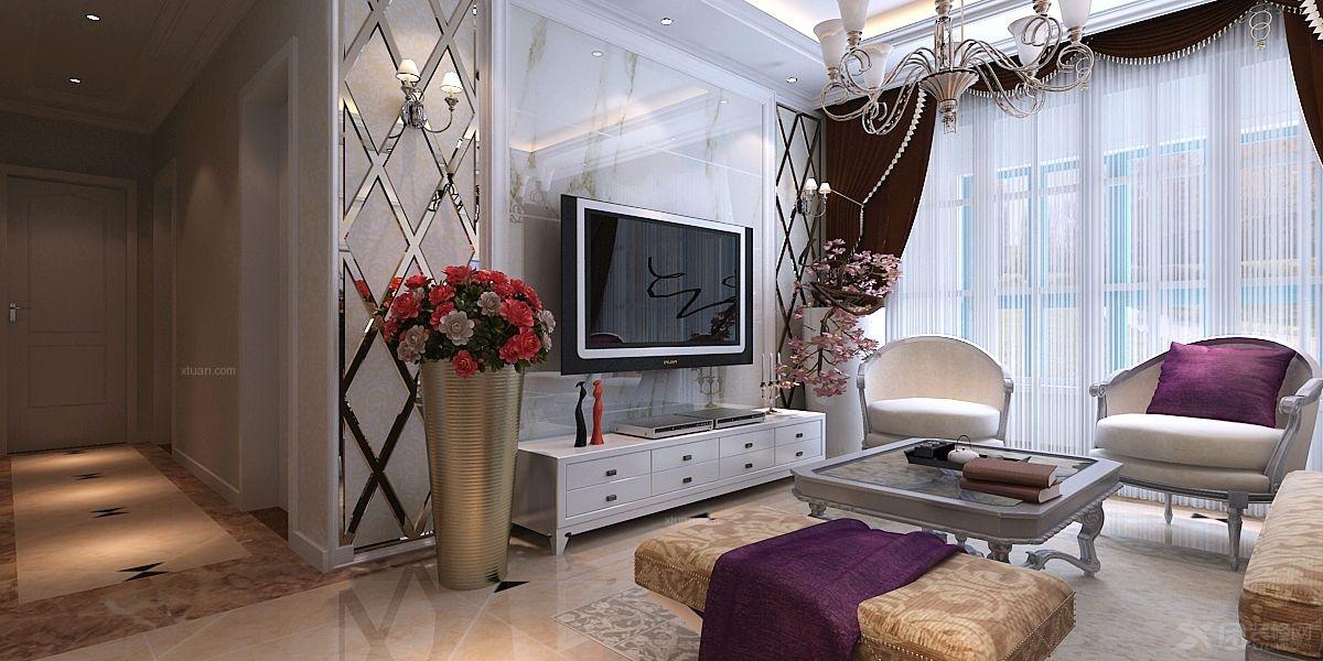 两居室简欧风格客厅电视背景墙_淮矿东方蓝海装修效果图片