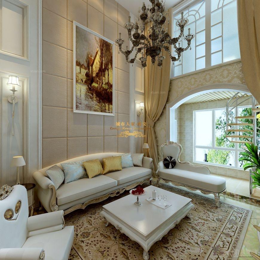 复式楼欧式风格客厅沙发背景墙_【西安城市人家】晶城图片