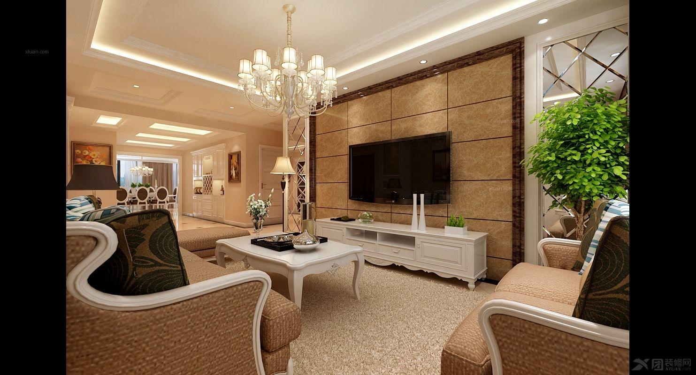 而在电视背景墙处,为了保留欧式风格原有的奢华感图片