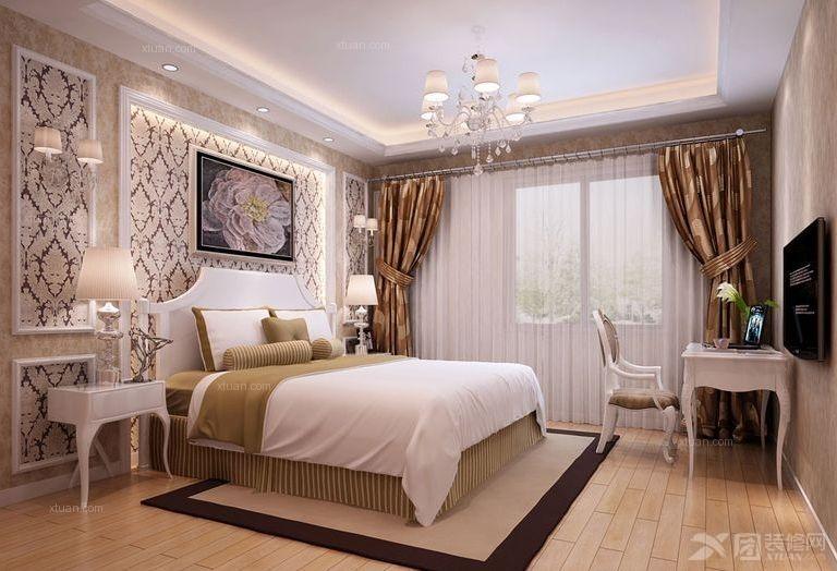 三居室欧式风格主卧室图片
