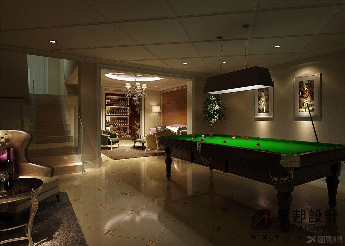 雍景豪城 135平三居室带地下室现代中式风格设计装修效果图 a户型地下