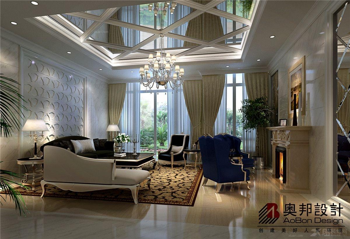 别墅古典风格客厅电视背景墙_海珀晶华别墅新古典风格图片