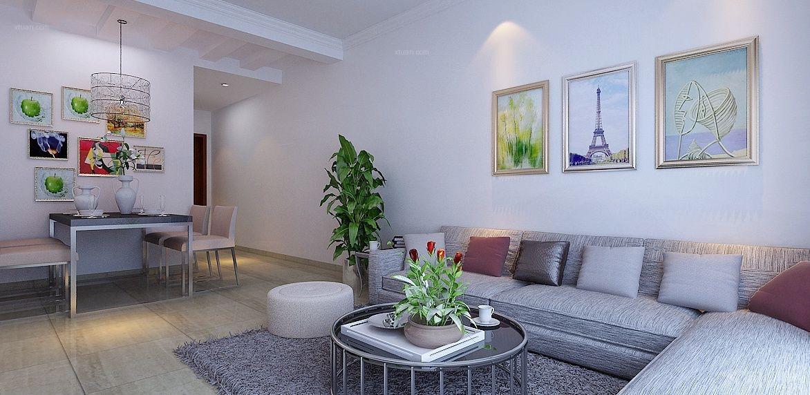 两居室新古典客厅沙发背景墙_旭辉御府