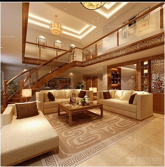 中式别墅客厅装修效果图  户型:复式楼 房间:客厅 风格:中式风格 装修