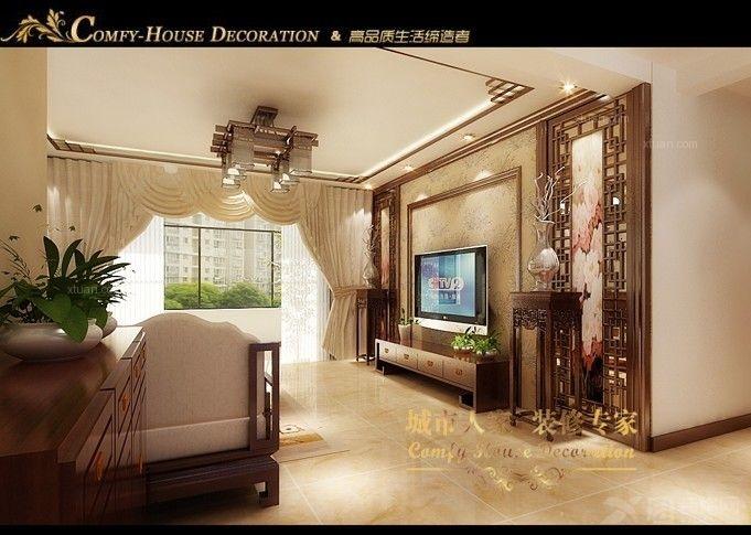 现代中式电视墙效果图