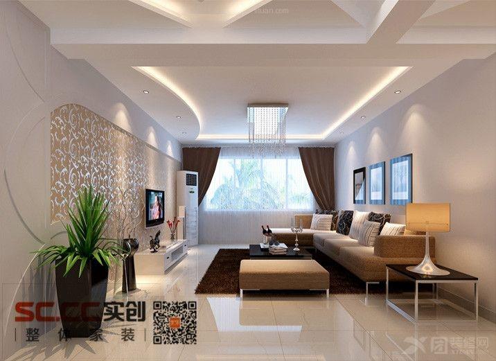 电视背景墙采用壁纸搭配石膏板弧线的造型