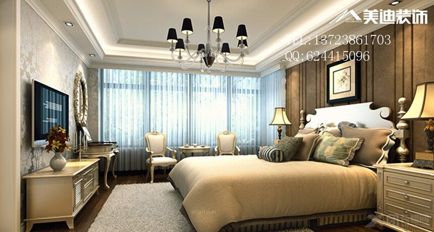 臥室家具定制實木衣柜實木床裝修效果圖  戶型:三居室 房間:臥室 風格