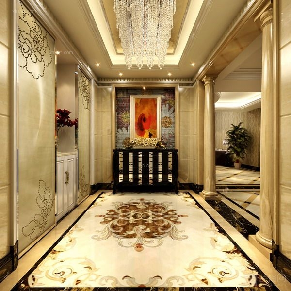 艺术拼图瓷砖 瓷砖艺术壁画装  户型:别墅 房间:玄关 风格:欧式风格图片