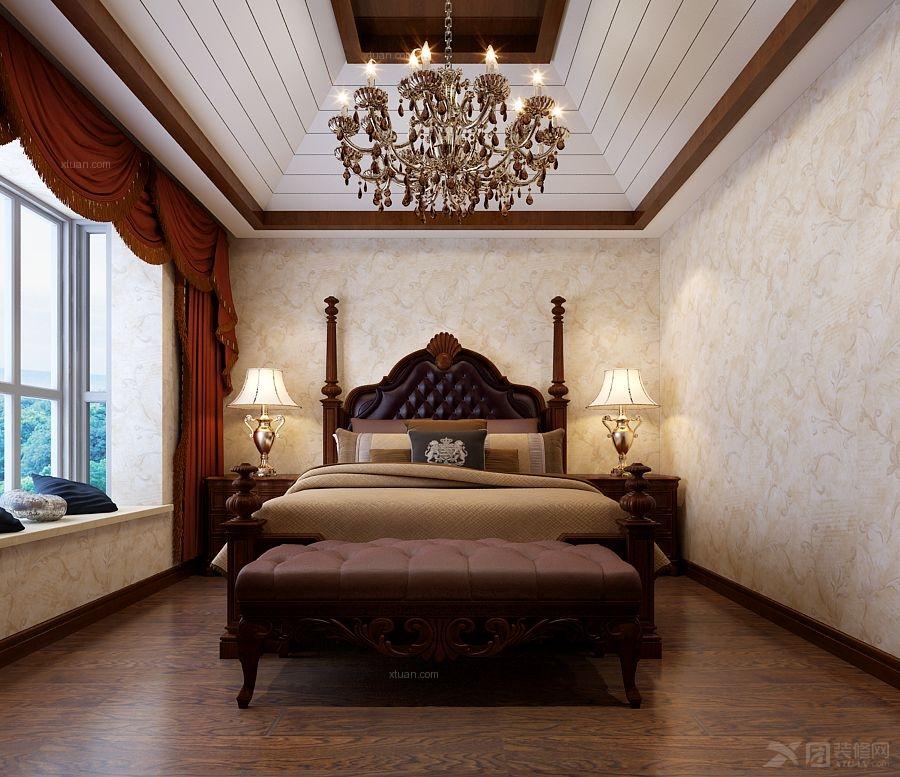 卧室家具定制实木衣柜实木床装修效果图