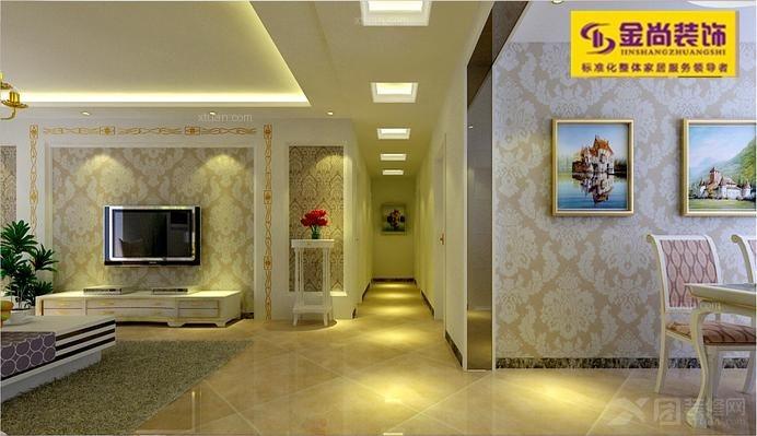 三室两厅现代简约客厅_绿地国际花都115平图装修效果