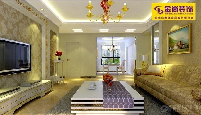 三室两厅现代简约客厅_绿地国际花都115平图