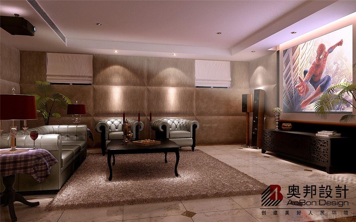 地下室客厅装修效果图  设计理念:南郊挑空别墅现代简约美式风格装修图片