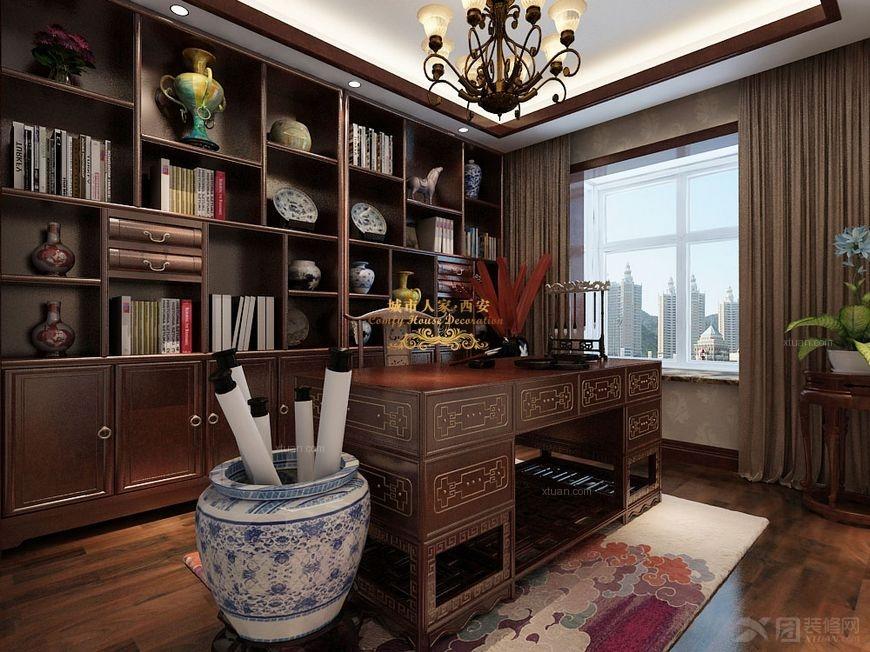 户型:三居室 房间:书房 风格:中式风格 装修类型:家装 装修方式:半包图片