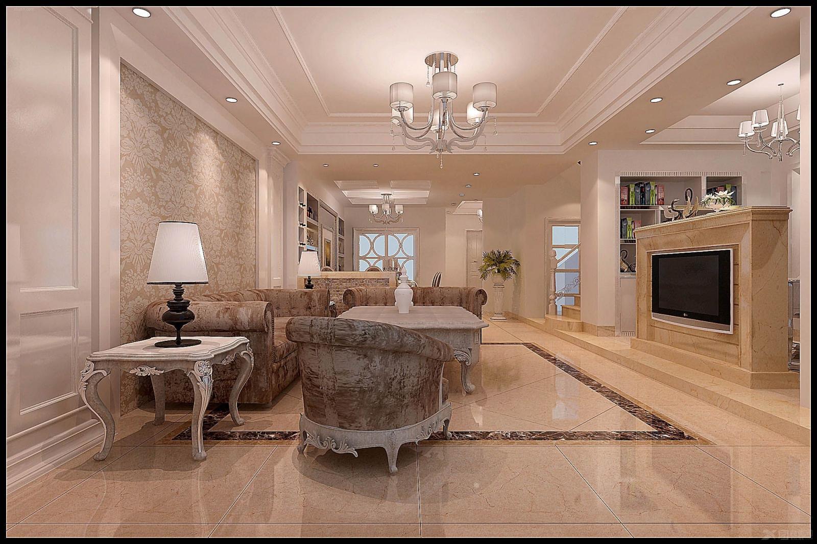 复式楼欧式风格客厅_木兰枫丹陈总楼中楼装修效果图图片