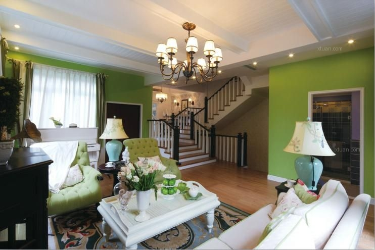 套间客厅装修效果图  户型:别墅 房间:客厅 风格:田园风格 装修类型