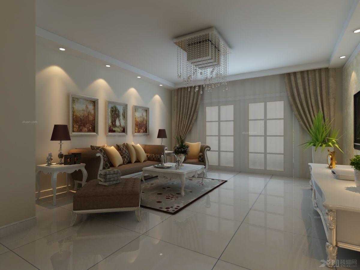 两居室现代简约客厅沙发背景墙_融科城