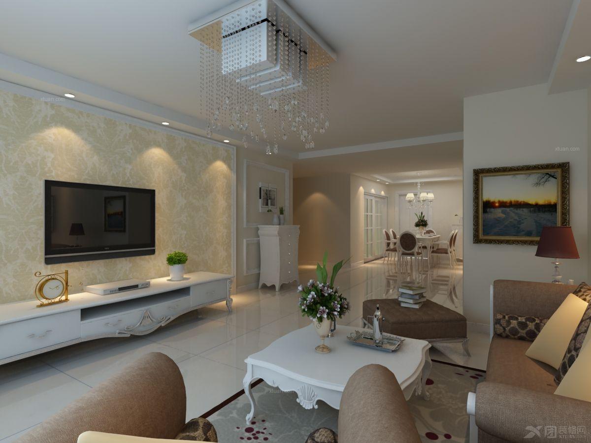 两居室现代简约客厅电视背景墙_融科城