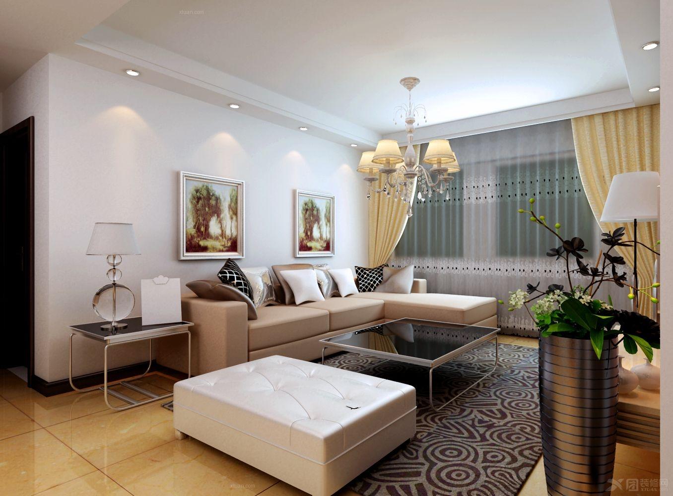 三居室古典风格客厅沙发背景墙_四季经典园