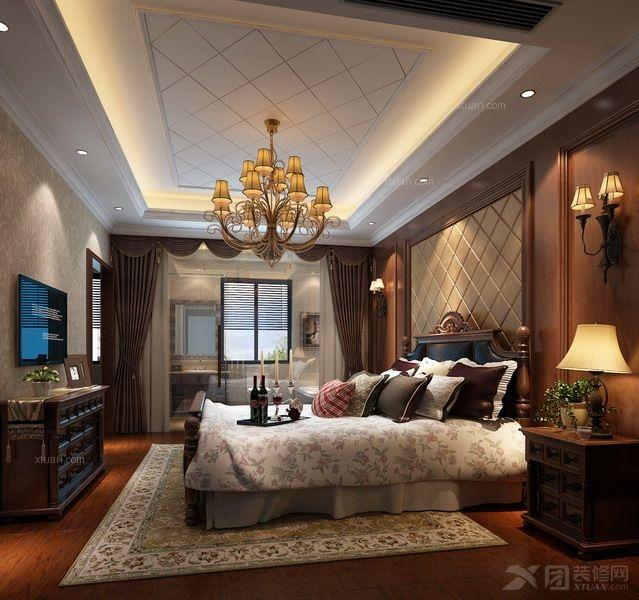 定制实木衣柜实木床装修效果图  户型:别墅 房间:卧室 风格:简欧风格