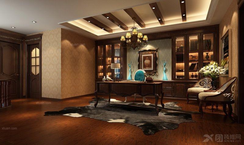 打造实用中式书房风格装修效果图  户型:别墅 房间:书房 风格:简欧图片