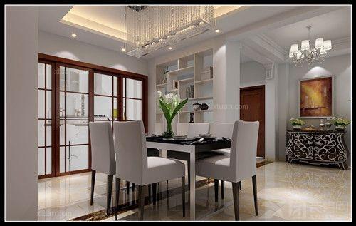 两居室现代简约餐厅开放式厨房_滨江帝景