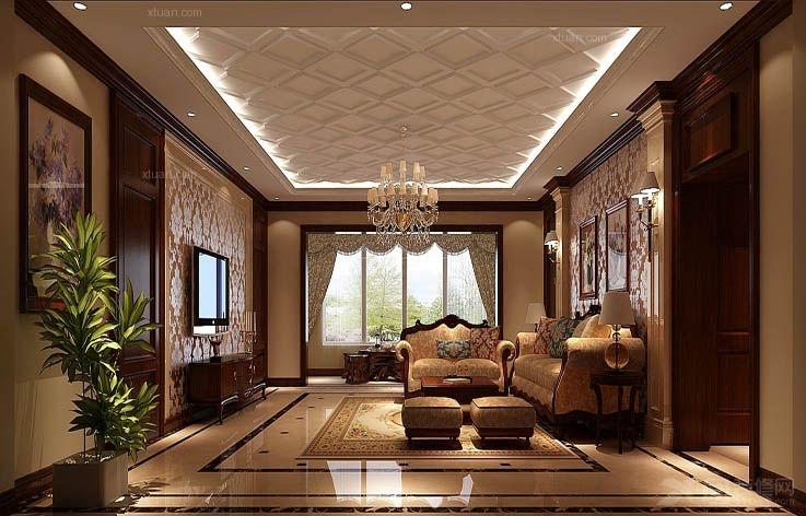 主卧也采用深色护墙板和欧式壁纸图片
