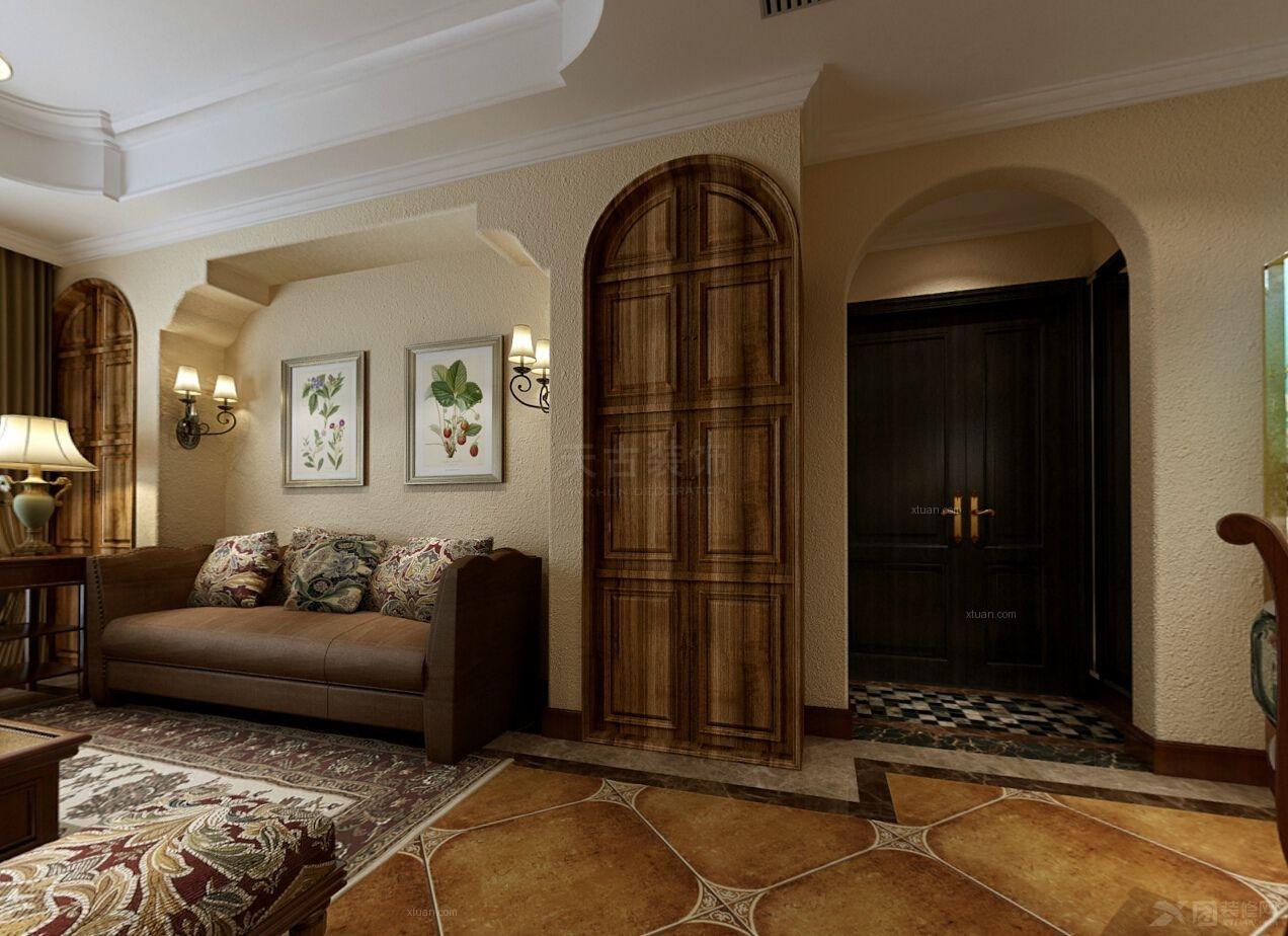 三室两厅田园风格客厅沙发背景墙
